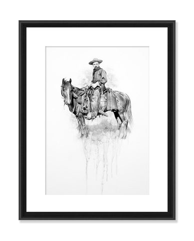 Settler - Original Charcoal Painting Matted and Framed