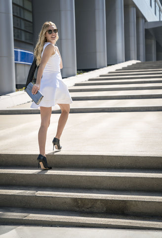model-any-charsley-walking-stairs-manolo-blahnik-booties-forme-shoeshapers