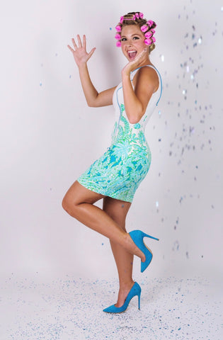 Katrina Confetti Shower Celebrating Comfortable Blue Heels