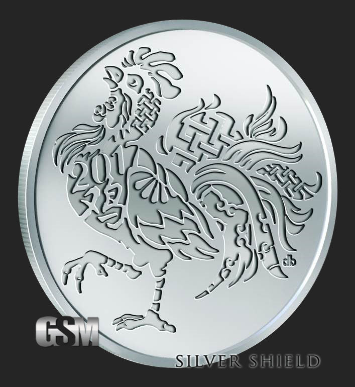 1 oz 2017 Year of the Rooster art round .999 fine silver