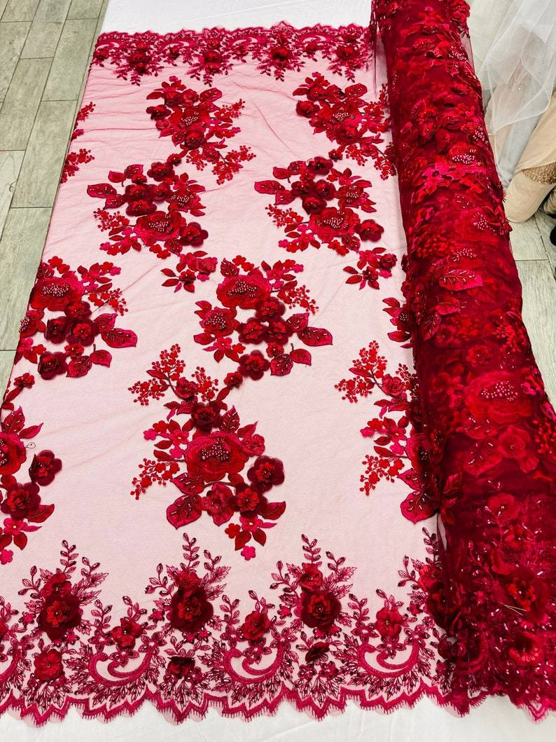 Garden Of Eden 3D Chiffon FlowerFloral Designs Beaded With Faux Pearls Fabric Lace Fabric Sold By The Yard Peach