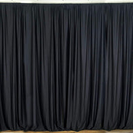 10 ft. Wide X 8 ft. Tall - Black - Curtain Polyester Backdrop High Quality Drapes with Rod Pocket