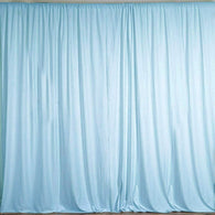 10 ft. Wide X 8 ft. Tall - Light Blue Curtain Polyester Backdrop High Quality Drapes with Rod Pocket