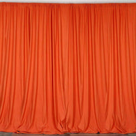 10 ft. Wide X 8 ft. Tall - Orange - Curtain Polyester Backdrop High Quality Drapes with Rod Pocket