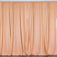 10 ft. Wide X 8 ft. Tall - Peach - Curtain Polyester Backdrop High Quality Drapes with Rod Pocket