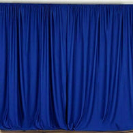 10 ft. Wide X 8 ft. Tall - Royal Blue Curtain Polyester Backdrop High Quality Drapes with Rod Pocket