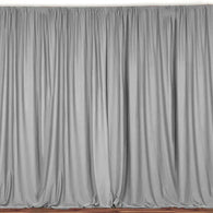 10 ft. Wide X 8 ft. Tall - Silver - Curtain Polyester Backdrop High Quality Drapes with Rod Pocket