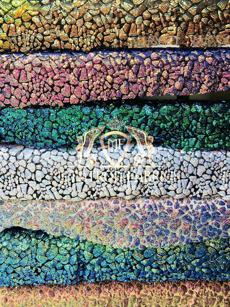 2 Way Stretch Fabric - Irridescent Colors - Print Design Fashion Sequins Mesh Fabric