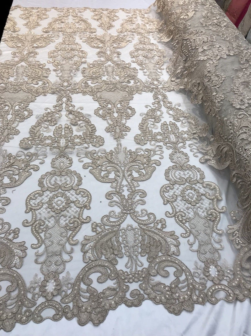 Floral - Taupe - Embroided Lace Fabric Damask Pattern - Beautiful Fabrics Sold by The Yard