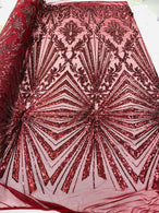 4 Way Stretch Fabric - Burgundy - Elegant Design Sequins Fashion on Spandex Mesh