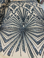 4 Way Stretch Fabric - Charcoal - Elegant Design Sequins Fashion on Spandex Mesh