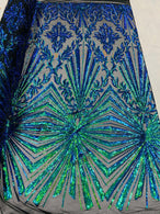 4 Way Stretch Fabric - Irridescent Green - Elegant Design Sequins Fashion on Spandex Mesh