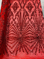 4 Way Stretch Fabric - Red - Elegant Design Sequins Fashion on Spandex Mesh