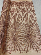 4 Way Stretch Fabric - Rose Gold - Elegant Design Sequins Fashion on Spandex Mesh