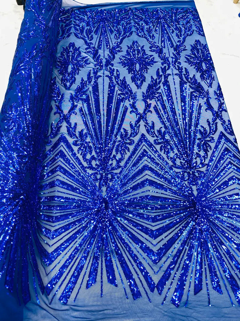 4 Way Stretch Fabric - Royal Blue - Elegant Design Sequins Fashion on Spandex Mesh
