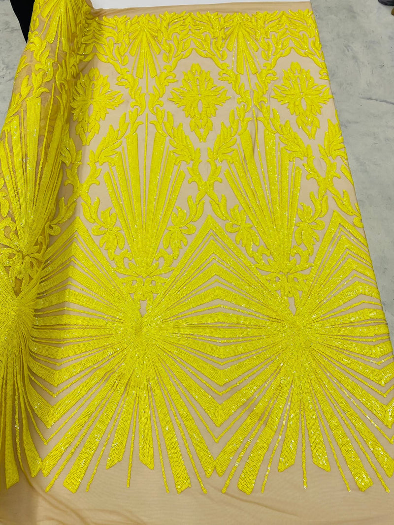 4 Way Stretch Fabric - Yellow - Elegant Design Sequins Fashion on Spandex Mesh