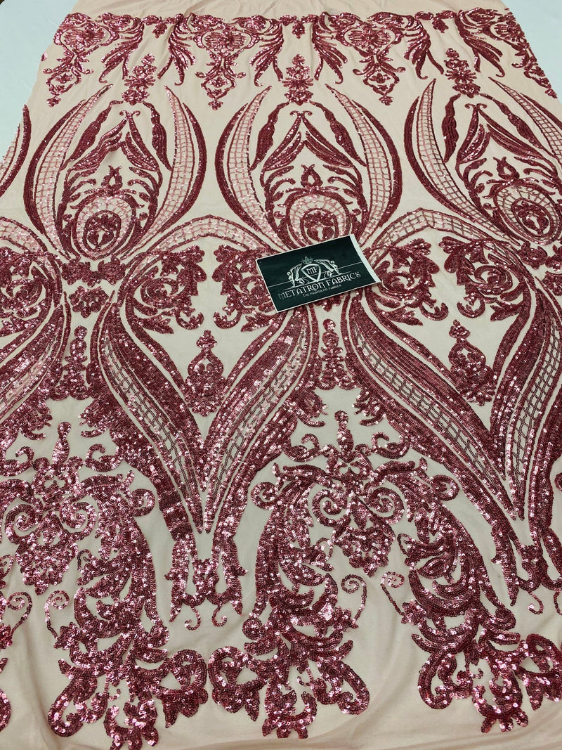 4 Way Stretch Fabric - Dusty Rose - Damask Glam Design Sequins Fashion Fabric Mesh By Yard