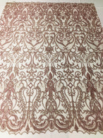 Glam Damask Beaded Fabric - Rose Gold - Embroidered Elegant Fashion Fabric with Beads on Mesh