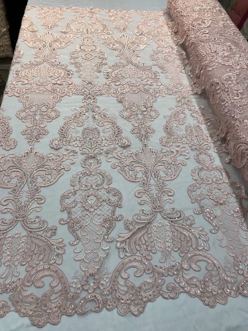 Floral - Pink - Embroided Lace Fabric Damask Pattern - Beautiful Fabrics Sold by The Yard