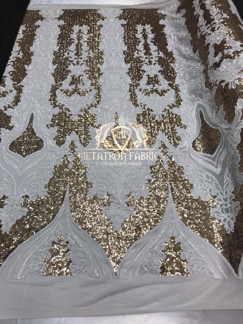 4 Way Stretch - White and Gold - Two Tone Flower Design Sequins On Stretch Mesh By The Yard