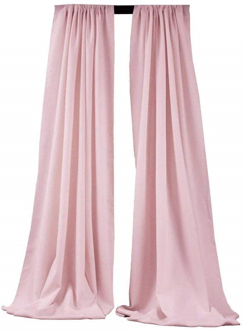 5 Feet x 10 Feet - Blush Pink - Polyester Backdrop Drape Curtains, Polyester Poplin Backdrop 1 Pair