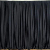 10 x 10 Ft - Black - Curtain Polyester Backdrop Drapes Panels with Rod Pocket