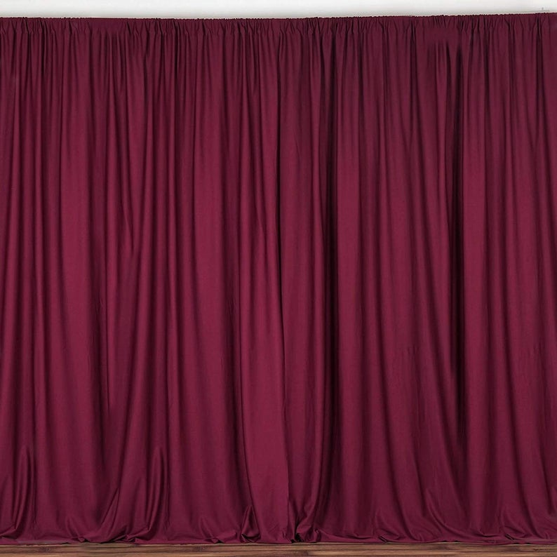 10 x 10 Ft - Burgundy - Curtain Polyester Backdrop Drapes Panels with Rod Pocket