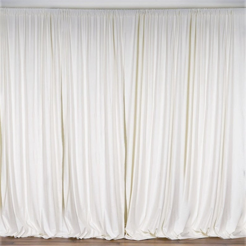 10 x 10 Ft - Ivory - Curtain Polyester Backdrop Drapes Panels with Rod Pocket