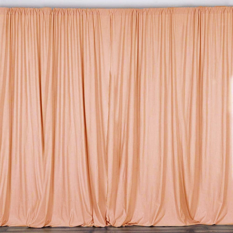 10 x 10 Ft - Peach - Curtain Polyester Backdrop Drapes Panels with Rod Pocket