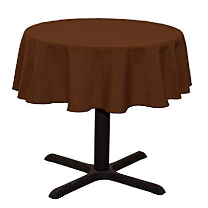 Round Linentablecloth Chocolate Brown - 51 Inch Round Banquet Polyester Cloth Wrinkle Resist Quality