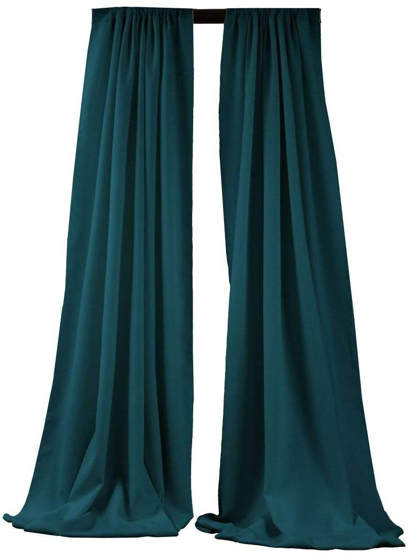 5 Feet x 10 Feet - Dark Teal - Polyester Backdrop Drape Curtains, Polyester Poplin Backdrop 1 Pair