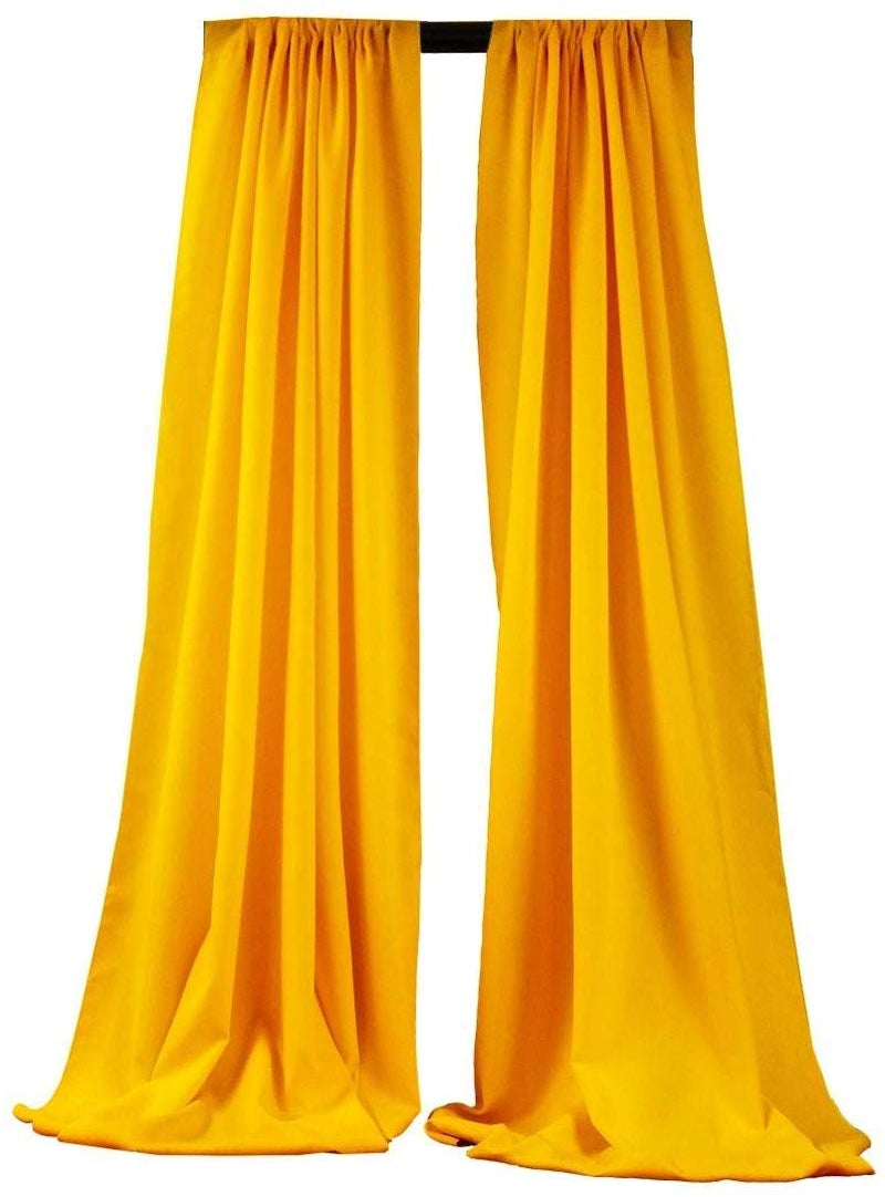 5 Feet x 10 Feet - Dark Yellow - Polyester Backdrop Drape Curtains, Polyester Poplin Backdrop 1 Pair