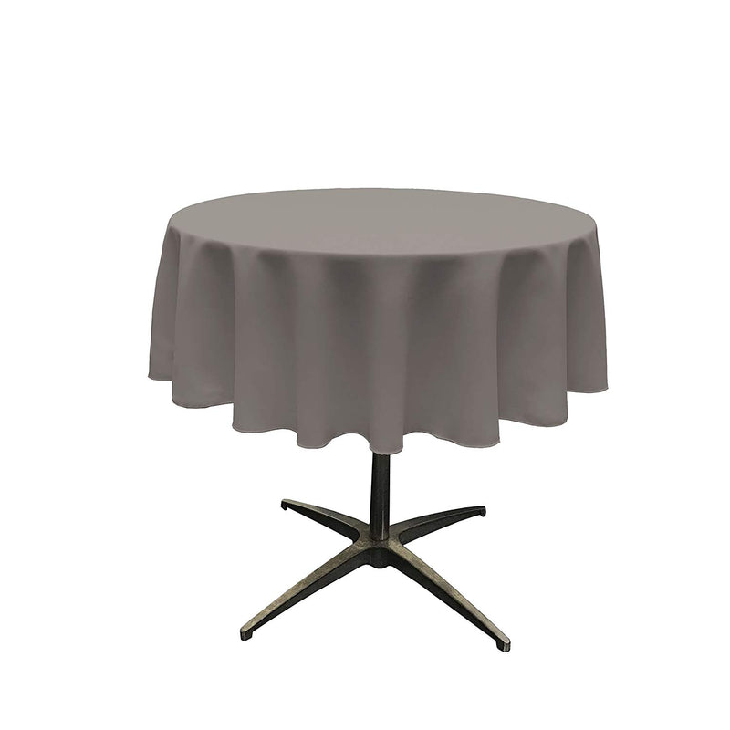 Round Linentablecloth - Dark Gray - 51 Inch Round Banquet Polyester Cloth, Wrinkle Resist Quality