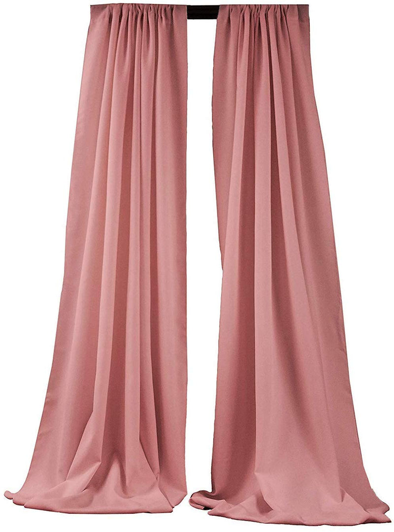 5 Feet x 10 Feet - Dusty Rose - Polyester Backdrop Drape Curtains, Polyester Poplin Backdrop 1 Pair