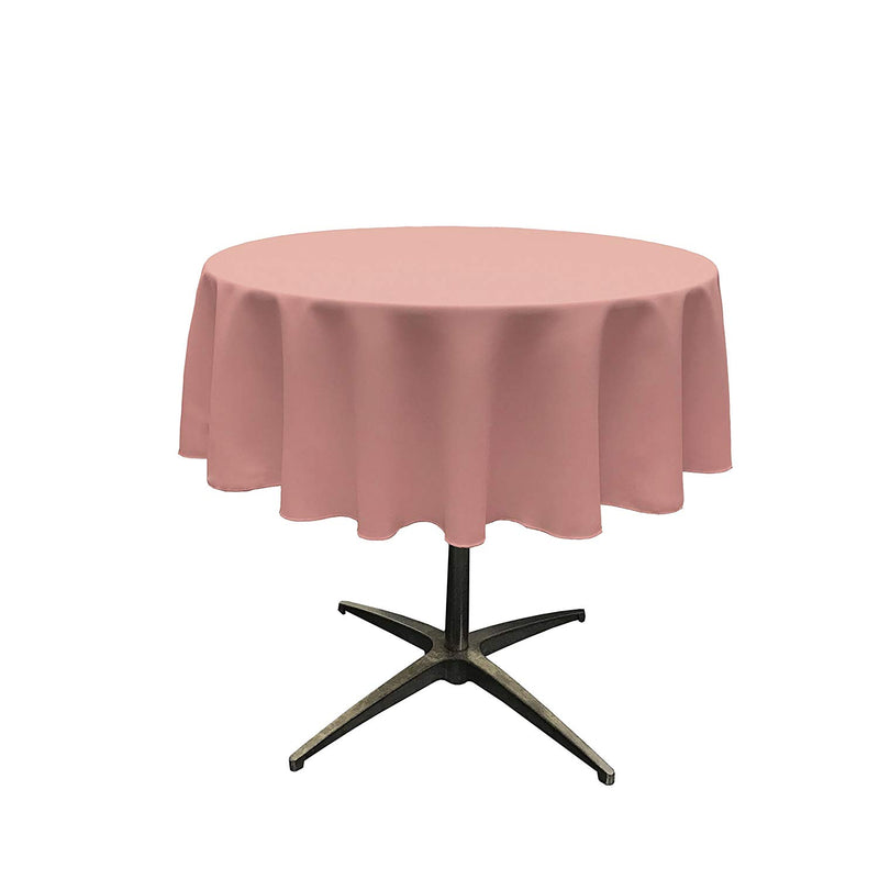 Round Linentablecloth - Dusty Rose - 51 Inch Round Banquet Polyester Cloth, Wrinkle Resist Quality