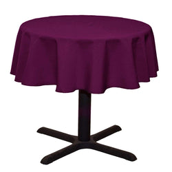 Round Linentablecloth - Eggplant - 51 Inch Round Banquet Polyester Cloth, Wrinkle Resist Quality