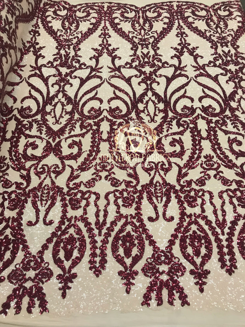 Two Tone Sequins - Burgundy / Nude - 4 Way Stretch Fancy Design Mesh Fabric Sold By The Yard