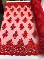 Floral Red Embroidered Lace Fabric with Sequins - Fancy Embroidery Design Fabrics By The Yard