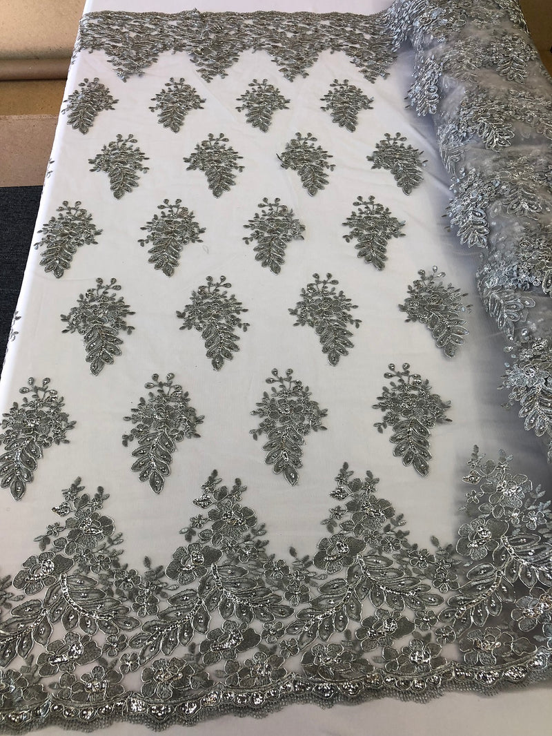 Floral Silver Embroidered Lace Fabric with Sequins - Fancy Embroidery Design Fabrics The The Yard
