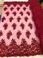 Floral Burgundy Embroidered Lace Fabric with Sequins Fancy Embroidery Design Fabrics  By The Yard