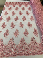 Floral Pink Embroidered Lace Fabric with Sequins Fancy Embroidery Design Fabrics By The Yard
