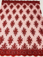 Floral Cluster Beads - Burgundy - Embroidered Beaded Flower Design Fabric on Mesh