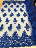 Floral Embroided Royal Blue Lace Fabric with Sequins Fancy Embroidery Design Fabricsby The Yard