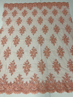 Floral Cluster Beads - Peach - Embroidered Beaded Flower Design Fabric on Mesh