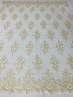 Floral Cluster Beads - Ivory Gold Metallic - Embroidered Beaded Flower Design Fabric on Mesh