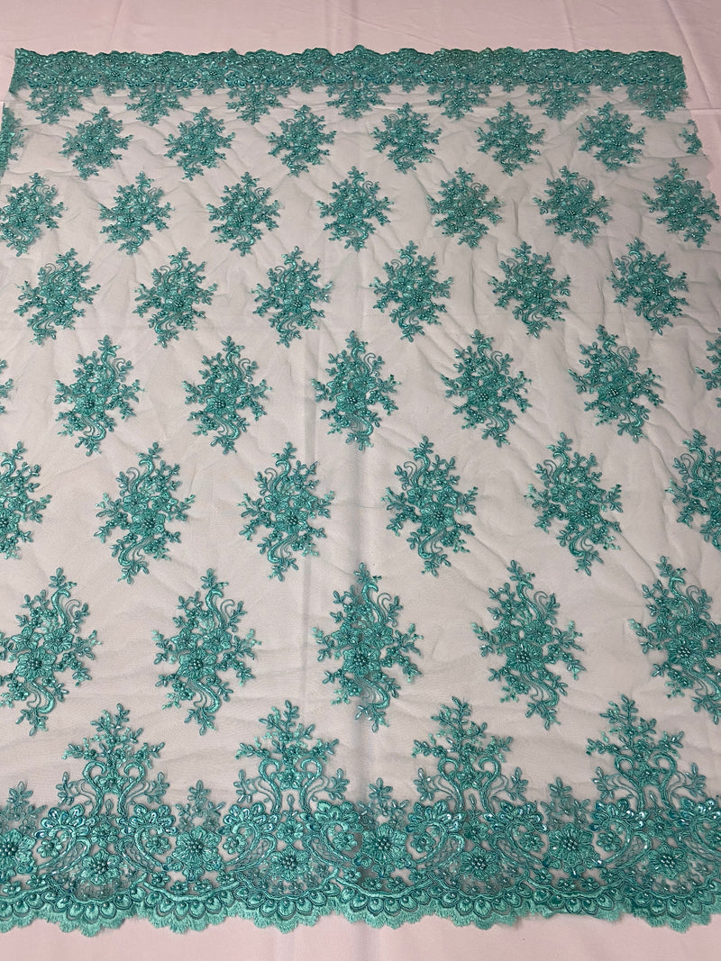 Floral Cluster Beads - Turquoise - Embroidered Beaded Flower Design Fabric on Mesh
