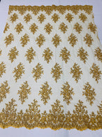Floral Cluster Beads - Gold Metallic - Embroidered Beaded Flower Design Fabric on Mesh