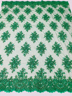 Floral Cluster Beads - Emerald Green - Embroidered Beaded Flower Design Fabric on Mesh