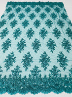 Floral Cluster Beads - Teal Blue - Embroidered Beaded Flower Design Fabric on Mesh