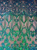 Damask Hearts Sequins - Iridescent Jade Green Blue - 4 Way Stretch Design Fancy Fabric On Mesh